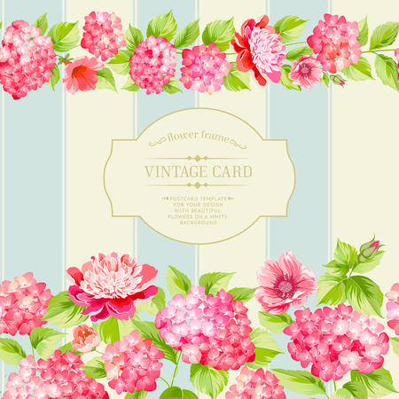 light pink: Label of the pink flowers with border and tile. Elegant Vintage card design. Roses, floral wallpaper, seamless pattern. Vector illustration.