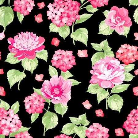 patrones de flores: El patrón floral transparente sobre patrón background.Flower negro de flores de hortensia de color naranja sobre fondo negro. Textura transparente. Flores rojas. Ilustración del vector.