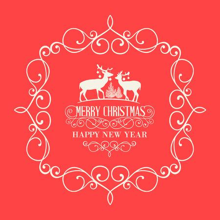 damask frame: The Christmas postcard with deers and damask frame over red background. Vector illustration.