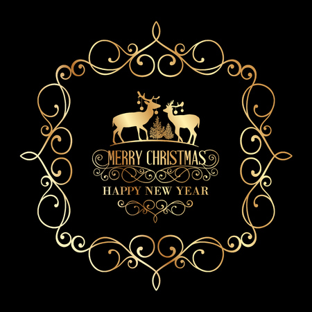 damask frame: The Christmas postcard with deers and damask frame over black background. Vector illustration.
