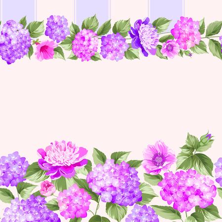 small flower: Pink flower border with tile. Elegant Vintage card design. Roses, floral wallpaper, seamless pattern. Vector illustration. Stock Photo