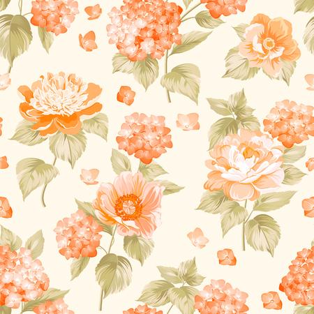 The floral seamless pattern over light background. Flower pattern of orange hydrangea flowers over white background. Seamless texture. Orange flowers. Vector illustration.