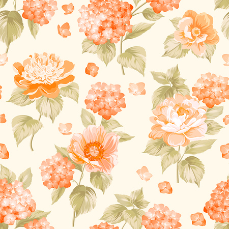 The floral seamless pattern over light background. Flower pattern of orange hydrangea flowers over white background. Seamless texture. Orange flowers. Vector illustration.