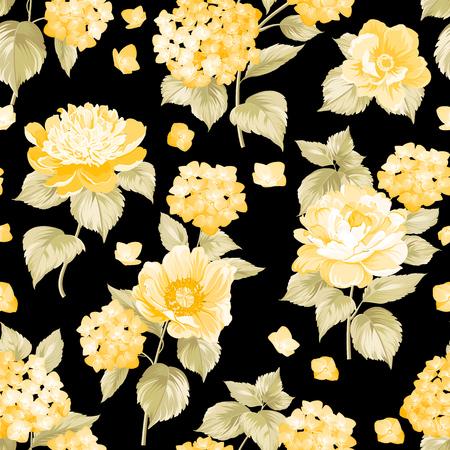 Seamless yellow flower pattern for fabric design. Vector illustration. Illustration