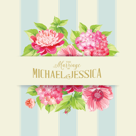info text: Wedding invitation card of color flowers. Vector illustration.
