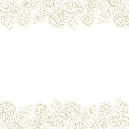 in bloom: White pattern of hydrangea flowers. Seamless texture. Gray flowers. Fabric flower pattern.