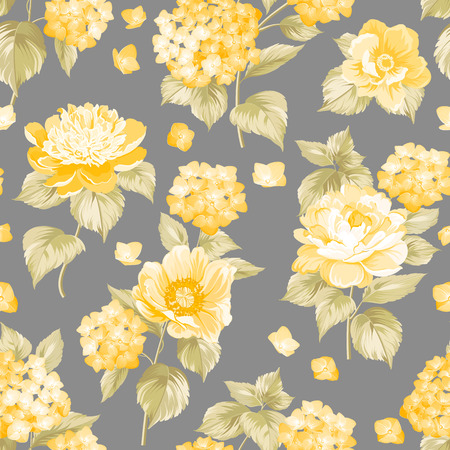 fabric painting: Seamless yellow flower pattern for fabric design.