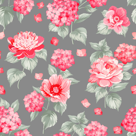 Seamless red flower pattern for fabric design.