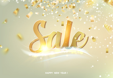 Happy Sale card over gray background with golden sparks.