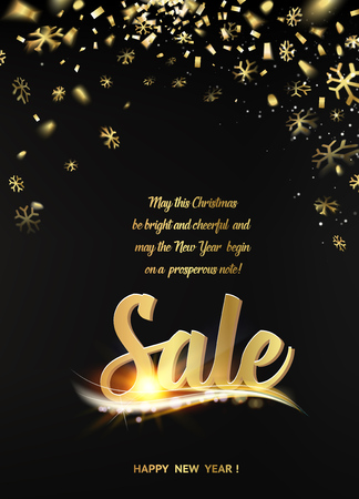 christmas sales: Happy new year sale card with black background and golden sparks. Golden confetti petals fall to the bottom. Big Sale text.