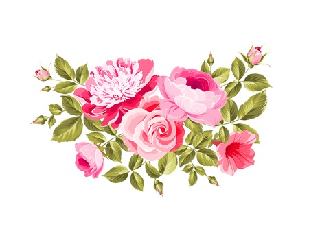 shabby: Spring flowers bouquet of color bud garland.  Illustration