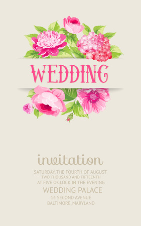 gray flower: Rose mallow garland isolated over white with romantic text. Wedding invitation card of color flowers.