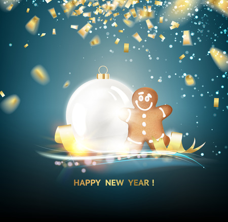 perl: Happy new year card over gray background with golden sparks. White sphere on dark background. Holiday christmas toy for fir tree.  contains transparencies, gradients and effects.