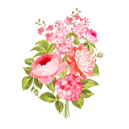 flowers bouquet: Spring flowers bouquet of color bud garland.  Illustration
