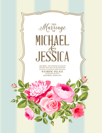 the spouse: Wedding Card and engagement announcement. Wedding of Michael and Jessica.  Illustration