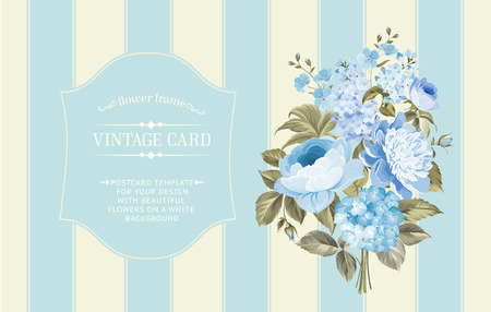 presentation card: Awesome blue vintage label of color flowers.Wedding Card and engagement announcement. Wedding invitation of Michael and Jessica.   Illustration