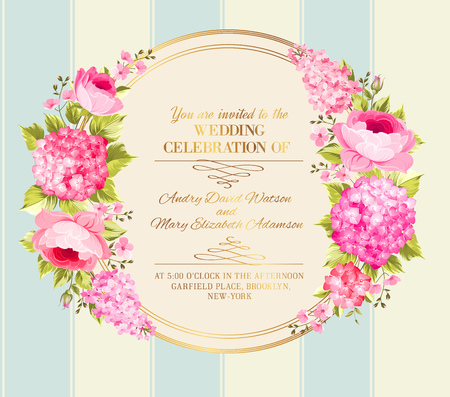 pink rose: Awesome vintage label of color flowers. Wedding invitation card of color flowers. Vector illustration.