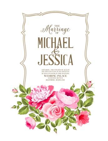 Carte de mariage et annonce de fiançailles. Mariage de Michael et Jessica. Vecteurs