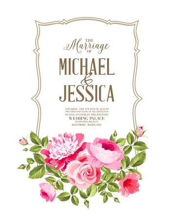 Wedding Card and engagement announcement. Wedding of Michael and Jessica.  Illustration