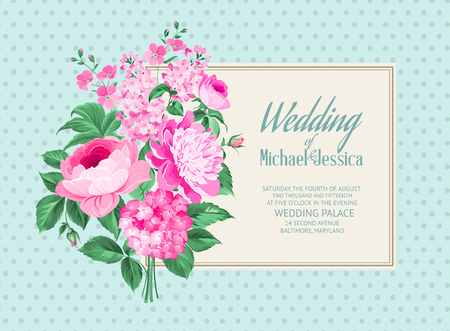 rose bouquet: Awesome vintage label of color flowers. Wedding Card and engagement announcement. Wedding of Michael and Jessica.