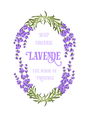 The lavender elegant card with frame of flowers and text. Lavender garland for your text presentation. Label of soap package. Label with lavender flowers. 免版税图像 - 49343707