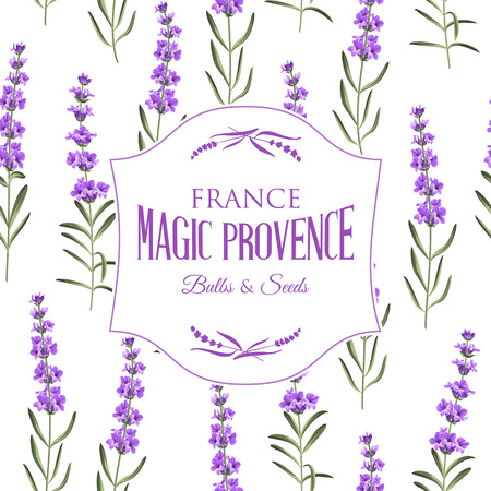 The lavender elegant card with frame of flowers and text. Lavender garland for your text presentation. Label of soap package. Label with lavender flowers. Vector illustration. Ilustração