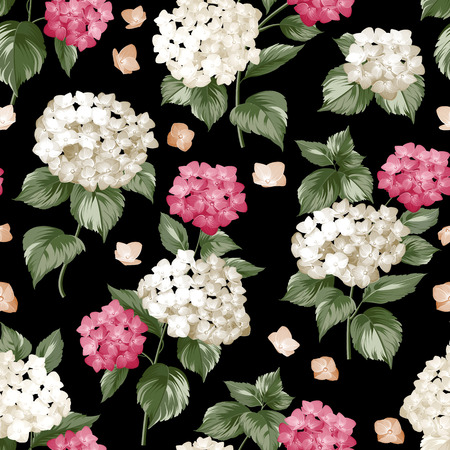 pattern background: Seamless white flowers pattern for fabric design. Seamless pattern over black background. Flower pattern of purple hydrangea flowers over black background. Seamless texture.  Illustration