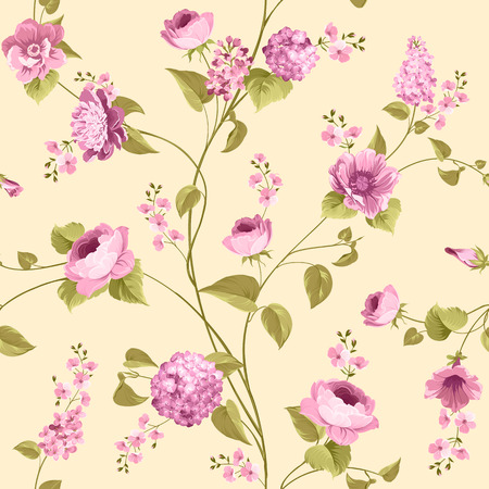 yellow flower: Fabric texture pattern with seamless flowers. The floral seamless pattern over light background. Flower pattern of violet hydrangea flowers over yellow background. Lilac flowers.