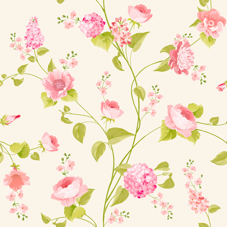 Fabric texture pattern with seamless flowers. The floral seamless pattern over light background. Flower pattern of pink hydrangea flowers over white background. Pink flowers.