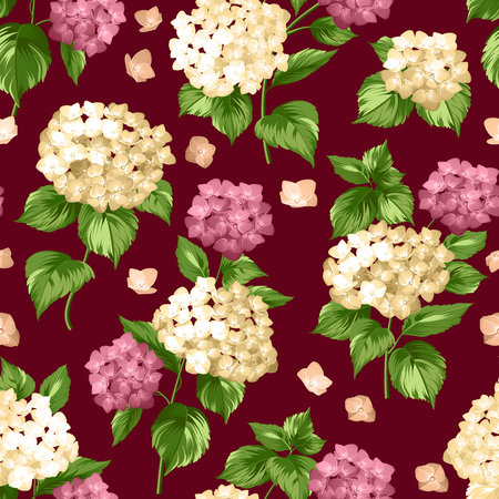 vintage fashion: Seamless white flowers pattern for fabric design. Seamless pattern over black background. Flower pattern of red hydrangea flowers over black background. Seamless texture.