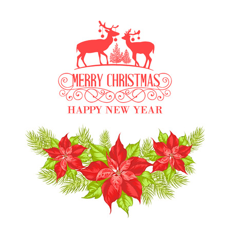 Raindeer silhuette with christmas mistletoe isolated over white background. Happy new year card. Vector illustration.