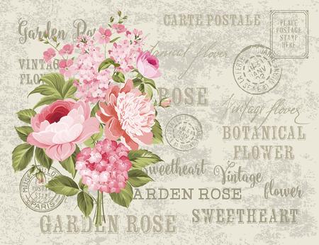 Ghirlanda di fiori per la scheda dell'invito. Modello della scheda con fiori che sbocciano e testo personalizzato. modello di vettore sfondo cartolina d'epoca per invito a nozze. Archivio Fotografico - 49346935