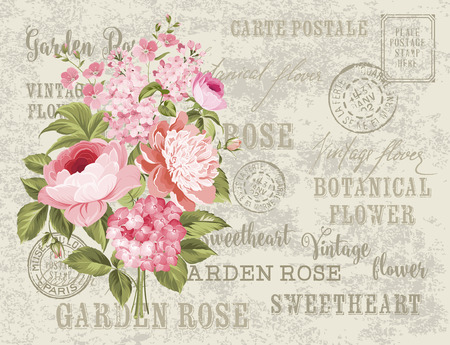 Flower garland for invitation card. Card template with blooming flowers and custom text. Vintage postcard background vector template for wedding invitation.