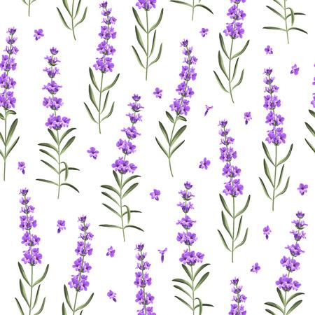 흰색 배경에 라벤더 꽃의 원활한 패턴입니다. 직물 견본을위한 라벤더와 수채화 패턴입니다. 벡터 일러스트 레이 션.
