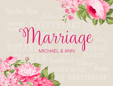flowers bouquet: Awesome vintage label. Wedding Card with engagement announcement. Wedding of Michael and Ann. Color flowers.