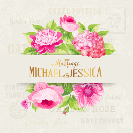illustration invitation: Rose mallow garland isolated over text background with romantic text. Wedding invitation card of color flowers. Vector illustration.