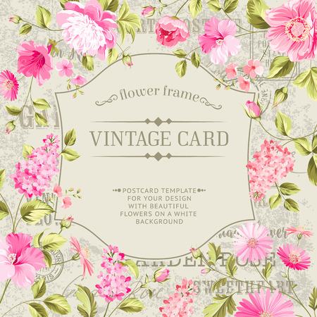illustration invitation: Awesome vintage label of color flowers. Wedding invitation card of color flowers. Vector illustration.