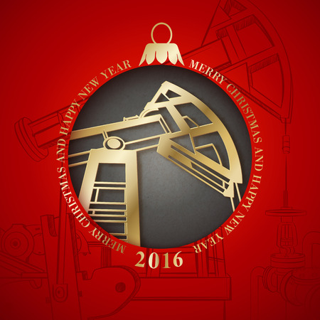 illustration industry: Oil industry cerd with christmas design. Vector illustration.