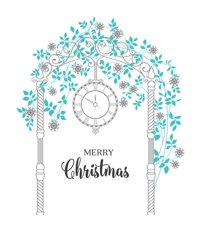 chik: Christmas arch with roses and leaves isolated over white. Merry Christmas greeting card. Vector illustration.