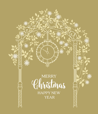 chik: Christmas arch with roses and leaves isolated over green. Merry Christmas greeting card. Vector illustration.