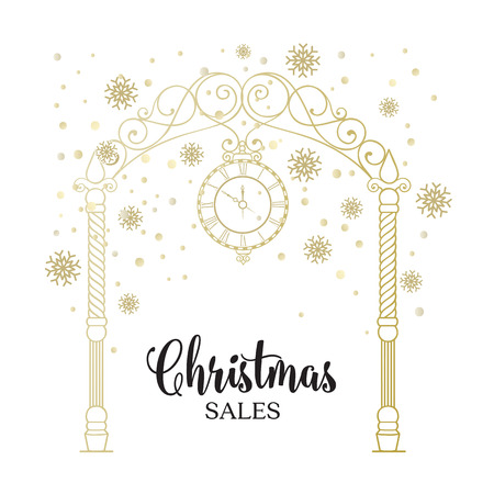 vintage rose: The christmas sales card. Happy new year text card with arch isolated over white background. Vector illustration.