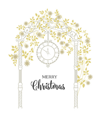 chik: Christmas arch with snowflake and leaves isolated over white. Merry Christmas greeting card. Vector illustration. Illustration