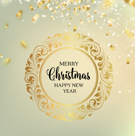 december holidays: Christmas frame  and confetti  over gray.  Christmas design with swirls and calligraphic text isolated over white. Merry Christmas greeting card. Vector illustration.
