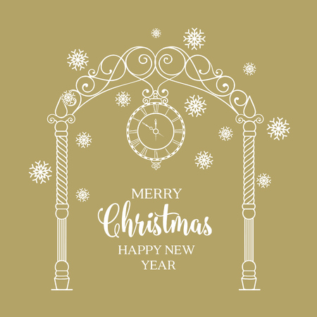 chik: Christmas arch with snowflake and leaves isolated over gold. Merry Christmas greeting card. Vector illustration.