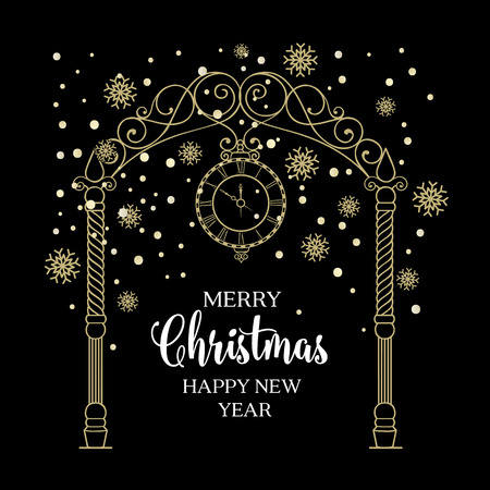 chik: Christmas arch with snowflake and leaves isolated over black. Merry Christmas greeting card. Vector illustration.