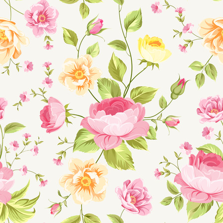 pink background: Luxurious peony wallapaper in vintage style. Floral seamless pattern with blossom buds over linear gray background.  Vector illustration. Illustration