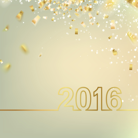 celebrate: Happy new year card over gray background with golden confetti. Vector illustration.