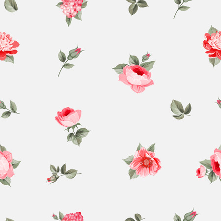 seamless floral pattern: Rose seamless pattern with small buds over gray background. Luxurious floral wallapaper in vintage style. Vector illustration.