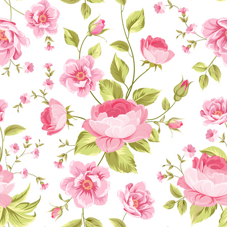 peony: Luxurious peony wallapaper in vintage style. Floral seamless pattern with blossom buds over white background.  Vector illustration.