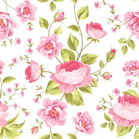 Luxuus pioen wallapaper in vintage stijl. Bloemen naadloos patroon met bloesem knoppen op een witte achtergrond. Vector illustratie.